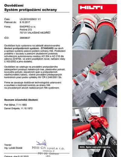 Osvědčení - systém proti požární ochrany